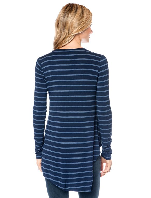 BCBGMAXAZRIA Asymmetrical Maternity Shirt, Multi Stripe