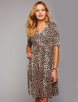 Fit and Flare Cheetah Print Maternity Dress, Cheetah Print