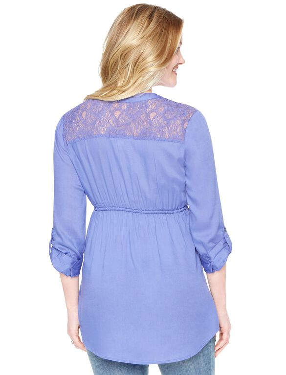 Lace Back Maternity Tunic, Violet Storm