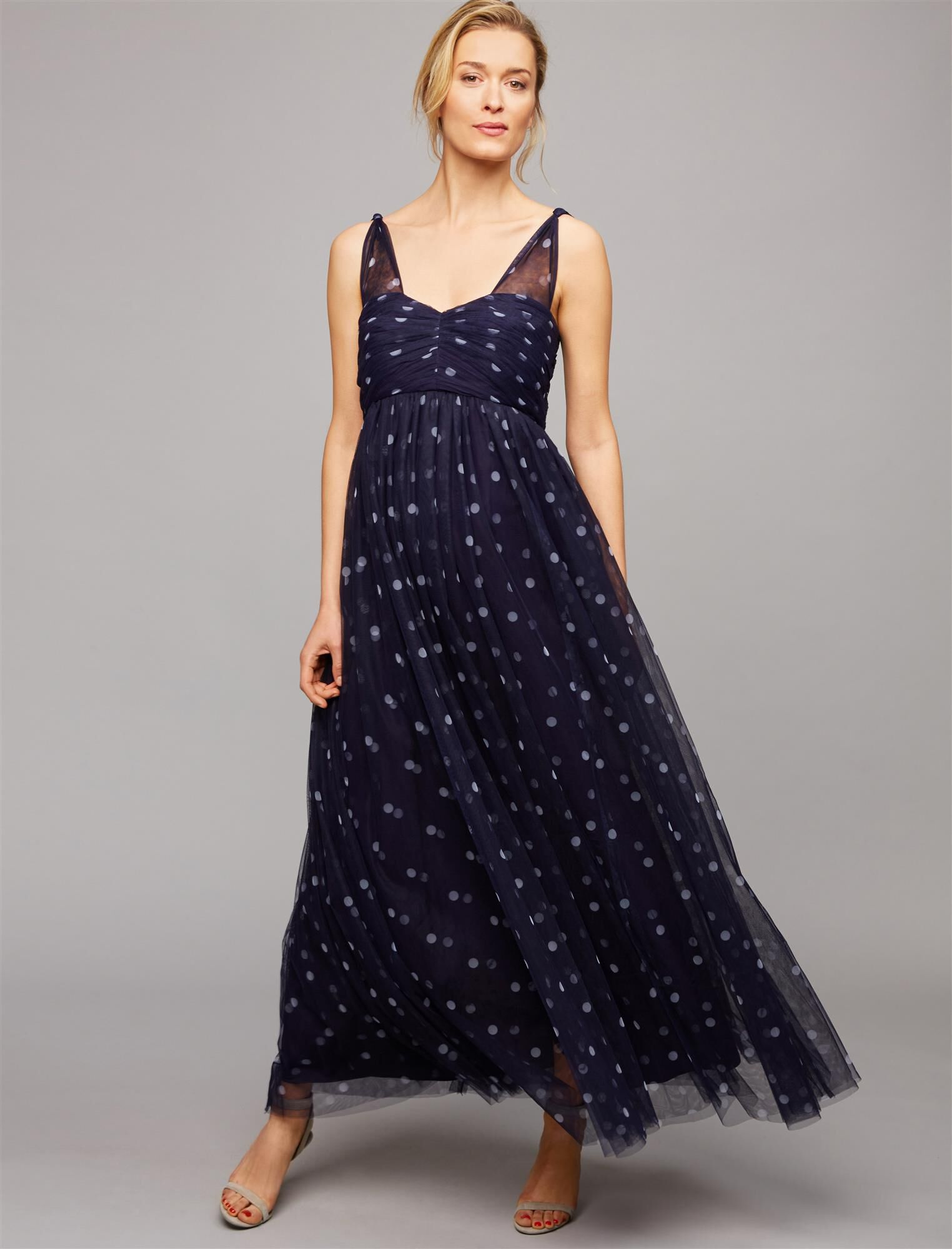 Ruched Dot Maternity Gown