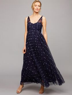 Ruched Dot Maternity Gown, Navy/White Dot Print
