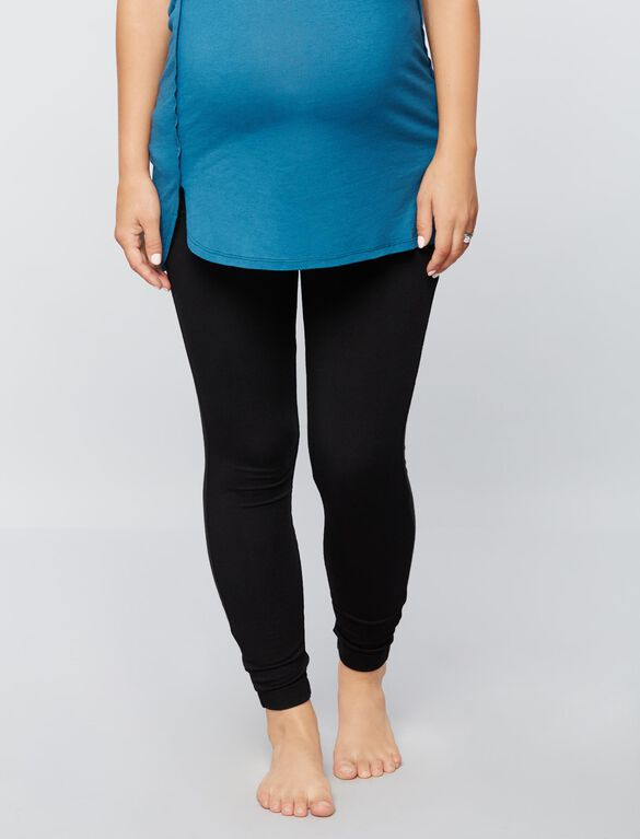 Fold Over Belly French Terry Maternity Leggings, Core Black