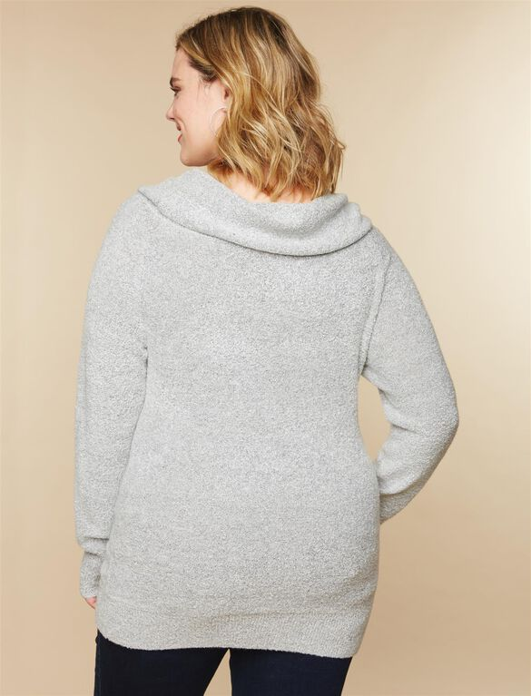 Plus Size Off The Shoulder Maternity Sweater, Grey