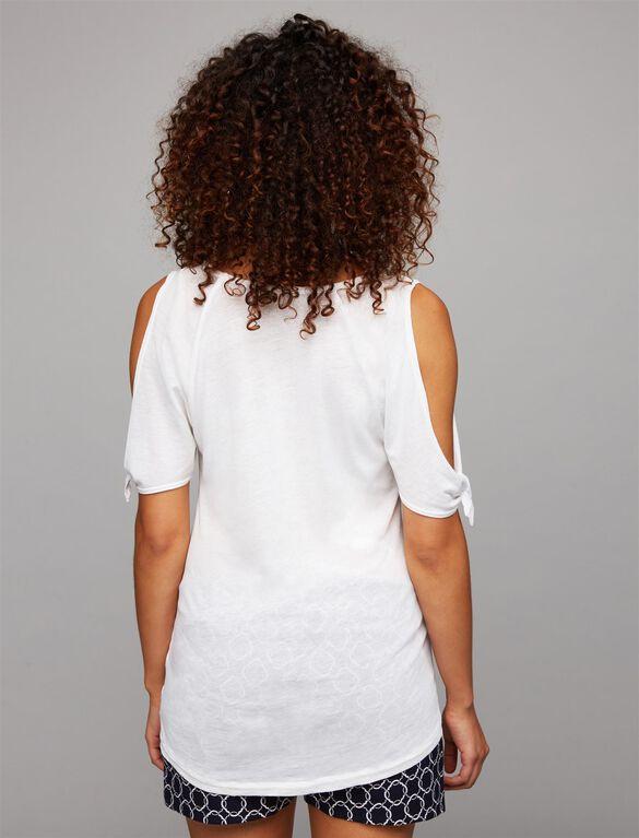 Splendid Cold Shoulder Maternity Top, White