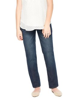 Indigo Blue Petite Secret Fit Belly Straight Leg Maternity Jeans, Medium Wash