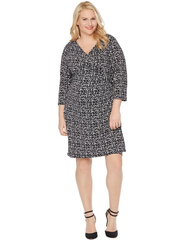 Plus Size Fit And Flare Maternity Dress, Black&white Print