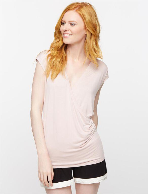 Faux Wrap Cap Sleeve Nursing Sleep Top, Pink