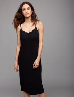 Rib Knit Midi Nursing Nightgown, Black
