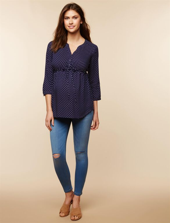 Belted Maternity Top, Navy Dot