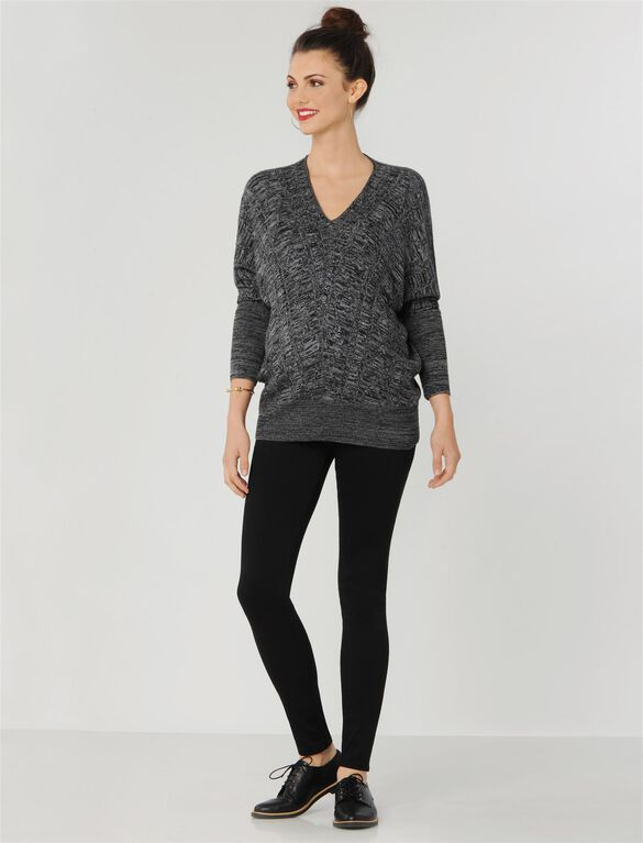 Wedge Maternity Sweater, Black/White Marled