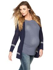 Striped Maternity Cardigan, White