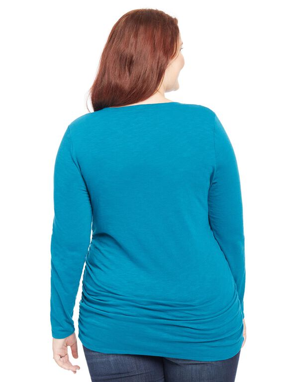 Plus Size Thankful For You Graphic Maternity Tee, Ocean Depths