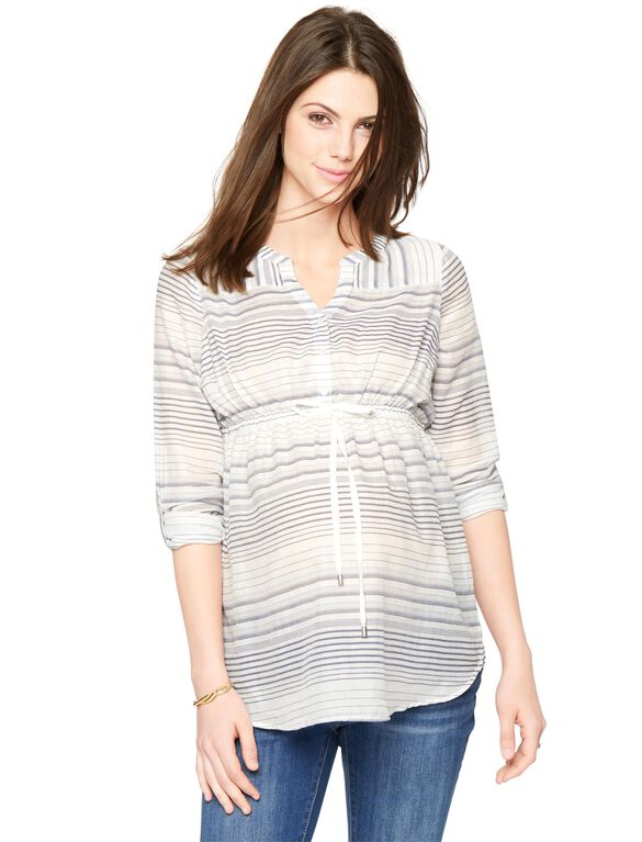 Luxe Essentials Denim Button Detail Maternity Tunic, Blue/White Stripe