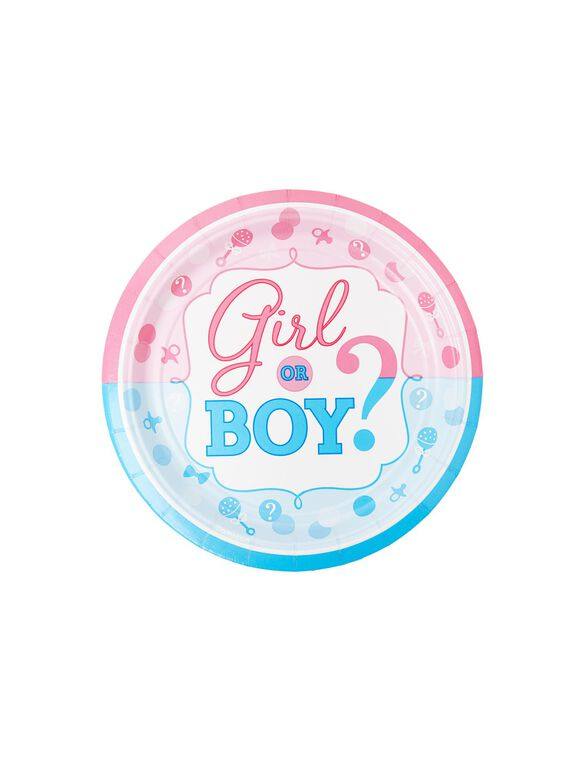 Girl Or Boy Gender Reveal Small Party Plates, Pink/Blue