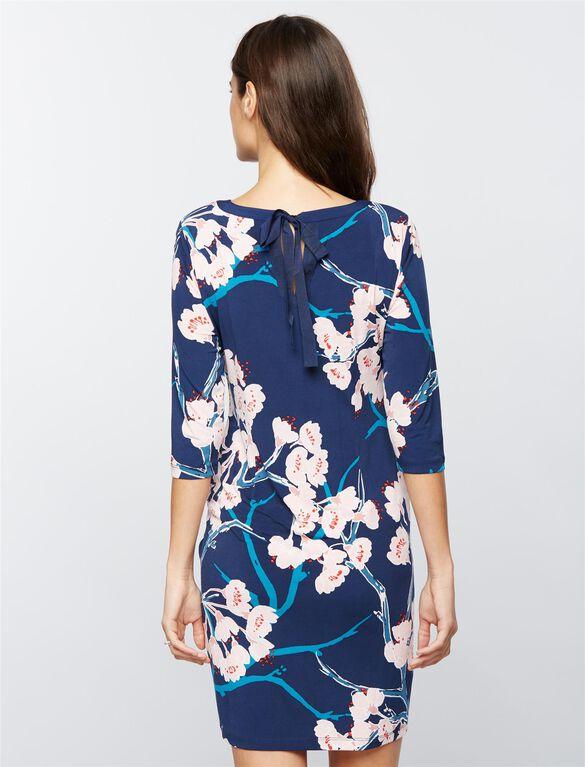 Floral Maternity Sheath Dress, Navy Floral