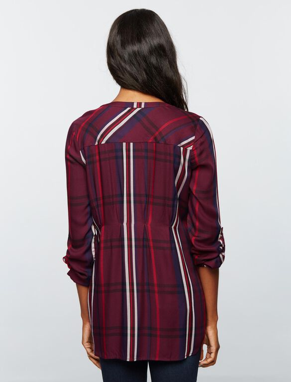 Luxe Essentials Denim Plaid Maternity Shirt- Burgundy, Burgundy Plaid