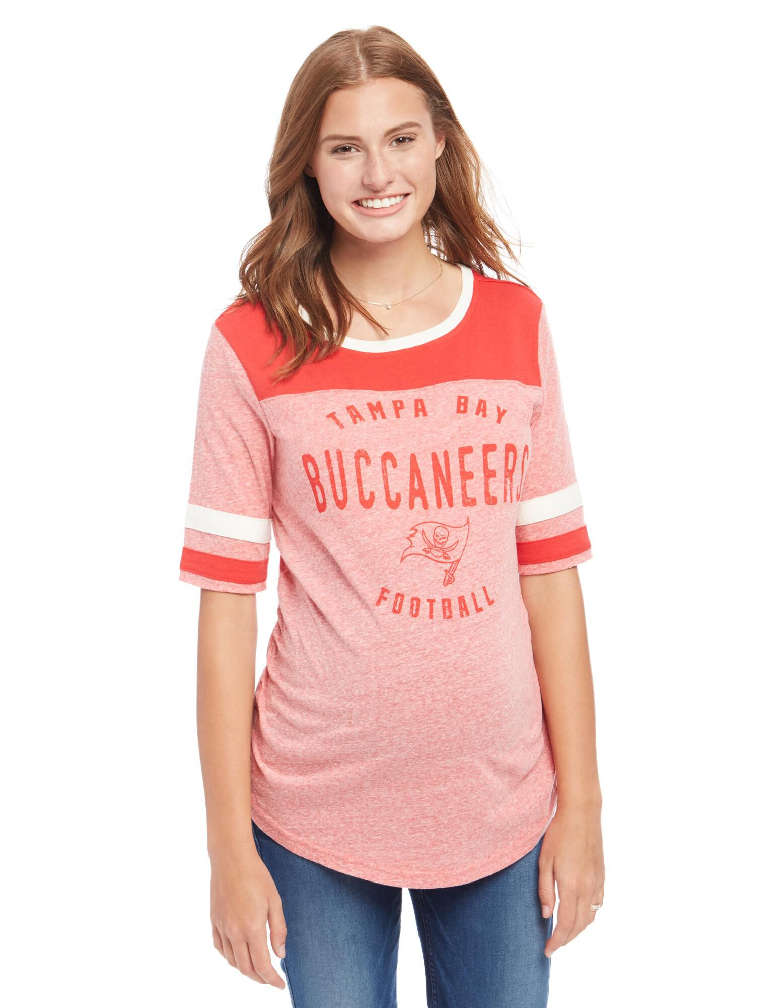 Tampa Bay Buccaneers NFL Elbow Sleeve Maternity Graphic Tee