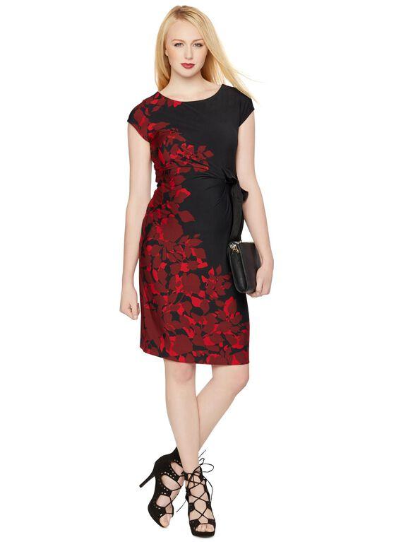 Side Tie Maternity Dress, Red/Black