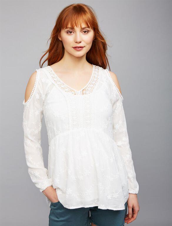 Daniel Rainn Embroidered Cold Shoulder Maternity Blouse, White