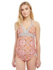 Floral Geo Halter Maternity Tankini Swimsuit, Pink Floral Geo