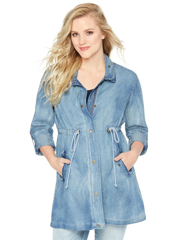 Wendy Bellissimo Drawstring Twill Maternity Jacket, Denim
