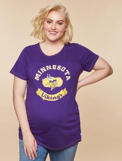 Plus Size Ruched Maternity T Shirt, Purple Vikings