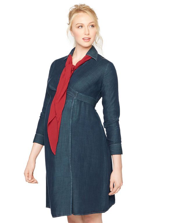 Luxe Essentials Denim Wrap Maternity Dress, Navy