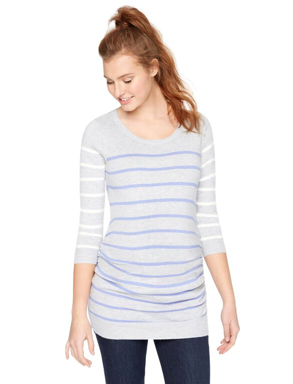Striped Side Ruched Maternity Sweater, Grey/Purple