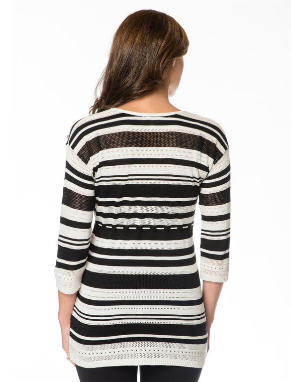 Striped Babydoll Maternity Sweater, Black/White