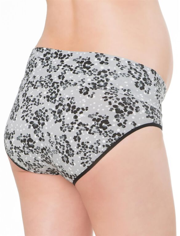 Maternity Fold Over Panties (3 Pack)- Black/Grey Animal, Black/Grey Animal