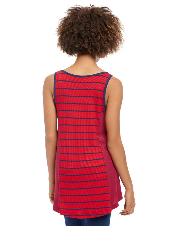 Striped Scoop Neck Maternity Tank Top, Red / Navy