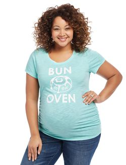 Plus Size Bun in the Oven Maternity Tee, Teal