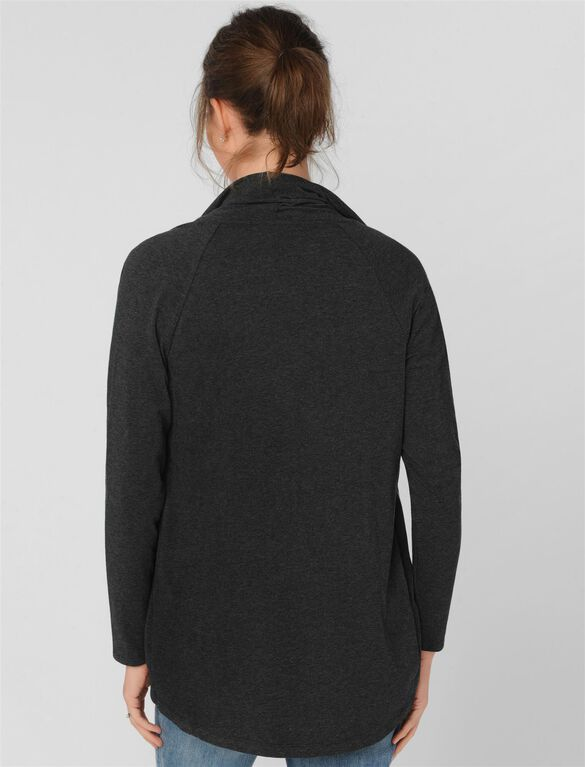 Luxe Essentials Cascade Maternity Cardigan, Heather Charcoal
