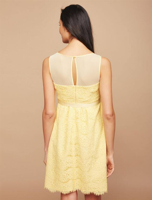 Illusion Neckline Lace Maternity Dress, Yellow