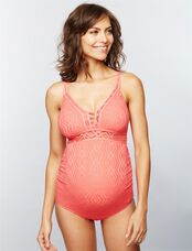 Crochet Maternity One Piece Swimsuit, Coral