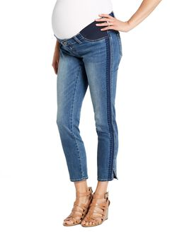 Jessica Simpson Under Belly Straight Leg Maternity Crop Jeans, Medium Wash