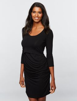Ripe Lift Up Super Soft Nursing Dress- Black, Black