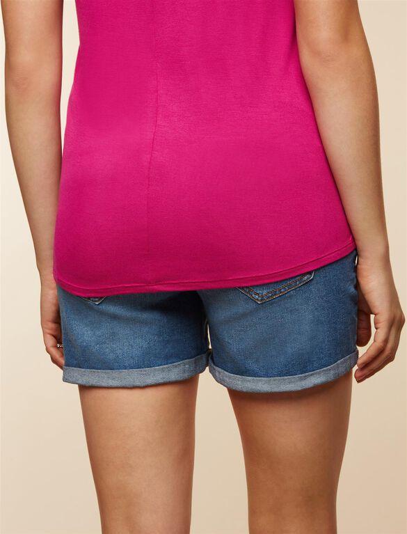 Secret Fit Belly Roll Hem Maternity Shorts, Medium Wash