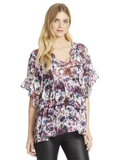 Jessica Simpson Ruffled Maternity Blouse, Multi Print