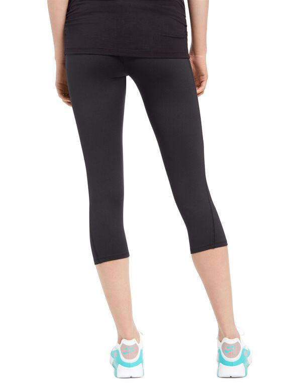 Secret Fit Belly Maternity Crop Active Pants- Black, Black