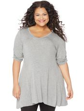 Plus Size Hanky Hem Maternity Tunic, Heather Grey