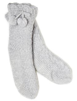 Pull On Slipper Socks, Grey
