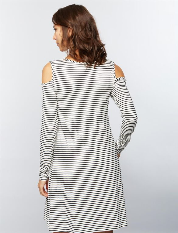 Striped Cold Shoulder Maternity Dress, Black and White Stripe