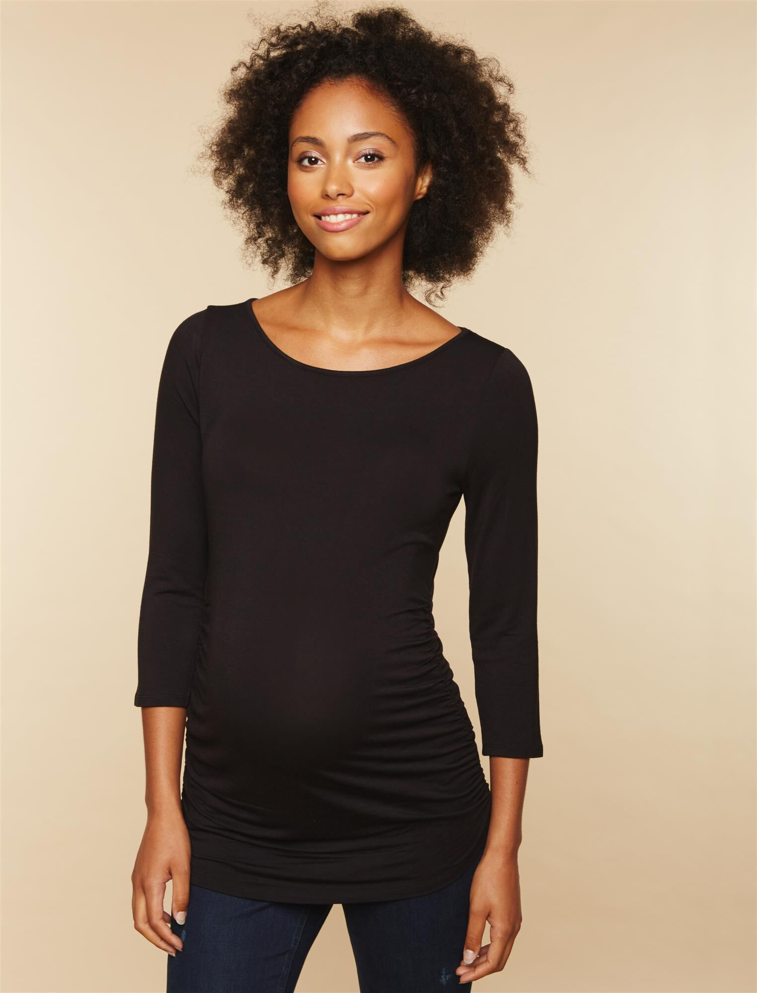 Sleeve Side Ruched Maternity Tee- Solid