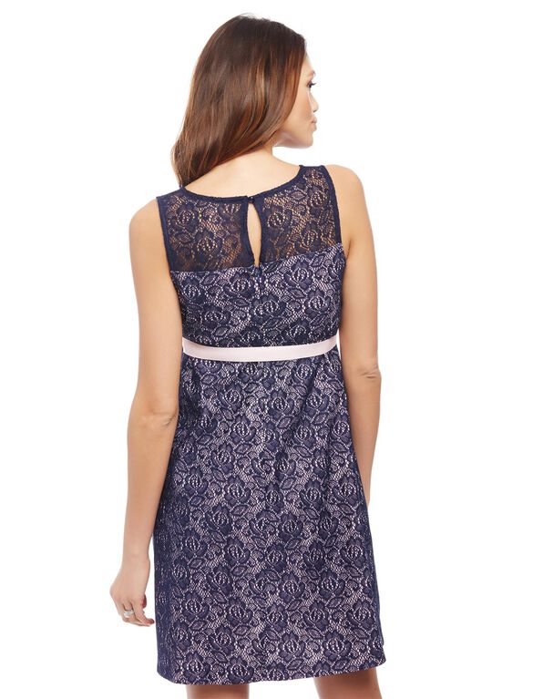 Gender Reveal Lace Maternity Dress, Navy