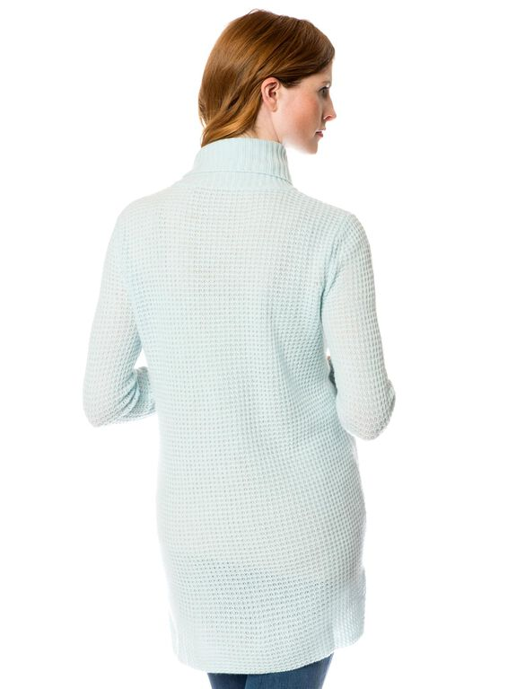 Long Sleeve Cashmere Maternity Pullover Sweater, Icy Blue