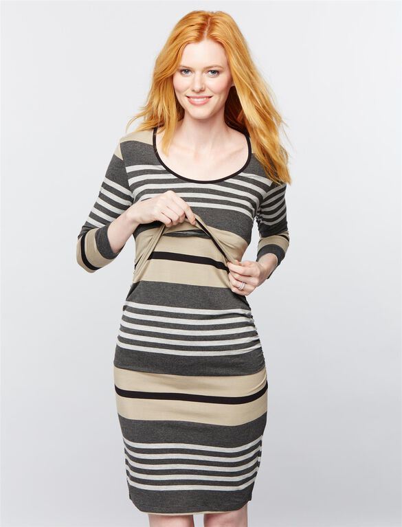 Ripe Mock Layer Ruched Nursing Dress, Stripe Grey