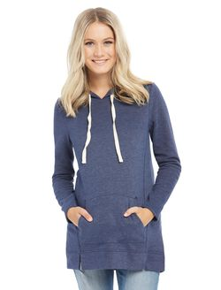 Relaxed Fit Maternity Hoodie- Heathered, Navy