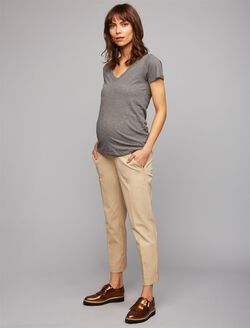 Secret Fit Belly Straight Ankle Maternity Pants, Khaki