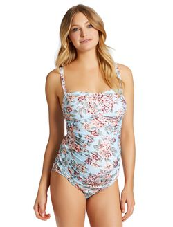 Jessica Simpson Floral Ruched Maternity Tankini Swimsuit, Light Blue Floral